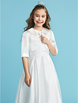 cheap -Half Sleeves Satin Wedding Party / Evening Kids' Wraps With Bow(s) Shrugs
