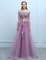cheap -A-Line Off-the-shoulder Floor Length Tulle Prom Dress with Beading Lace by SG