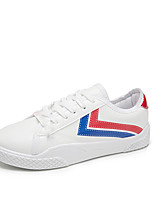 cheap -Women's Shoes PU Spring Fall Comfort Sneakers Flat for Outdoor Black White