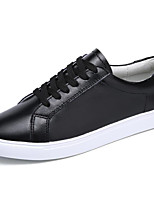 cheap -Women's Shoes Real Leather Spring Fall Comfort Sneakers Flat Heel for Casual Black White