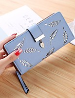 cheap -Women Bags PU Wallet Buttons Zipper for Casual All Season Coffee Almond Blushing Pink Black Blue