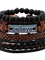 cheap -Men's Women's Wrap Bracelet , Double Layered Simple Hemp Rope Leather Alloy Circle Jewelry Daily Costume Jewelry