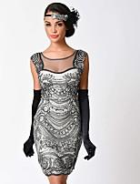 preiswerte -20er Gatsby Kostüm Damen Flapper Kleid Schwarz Beige Vintage Cosplay Polyester Kurzarm Kappe