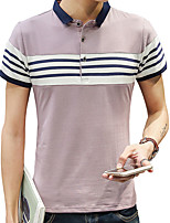 cheap -Men's Daily Sports Casual Street chic Spring Summer Polo,Solid Striped Shirt Collar Short Sleeve Cotton Thin Medium