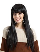 cheap -Synthetic Hair Wigs kinky straight Natural Hairline With Bangs Natural Wigs Very Long Natural Black