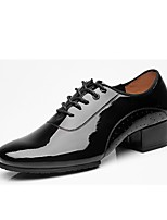 cheap -Latin Patent Leather Oxford Splicing Chunky Heel Black Customizable