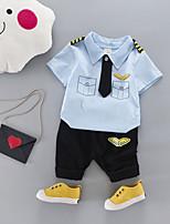 preiswerte -Jungen Kleidungs Set Alltag Schultaschen Druck Cartoon Design Baumwolle Ganzjährig Kurze Ärmel Niedlich Freizeit Aktiv Weiß Rosa Grau