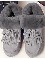preiswerte -Damen Schuhe Echtes Leder Nubukleder Winter Herbst Komfort Schneestiefel Stiefel Flacher Absatz Booties / Stiefeletten für Normal Grau