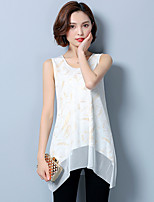 cheap -Women's Daily Casual Blouse,Print Round Neck Sleeveless Polyester