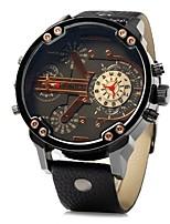 Недорогие -Муж. Наручные часы Китайский Кварцевый Крупный циферблат Кожа Группа Cool Черный Коричневый