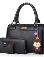 cheap -Women Bags PU Polyester Bag Set 3 Pcs Purse Set Zipper for Casual All Season Purple Gray Blushing Pink Black