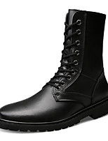 cheap -Shoes Nappa Leather Winter Fall Fashion Boots Comfort Boots Mid-Calf Boots for Casual Office & Career Black