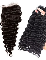 cheap -Brazilian Hair Deep Wave Human Hair Weaves 4pcs Hair Weft with Closure