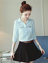 cheap -Women's Daily Wear Work Active Shirt,Solid Shirt Collar Long Sleeves Cotton