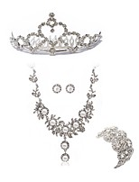 cheap -Women's Tiaras Bridal Jewelry Sets Rhinestone Imitation Diamond Alloy Geometric Fashion European Wedding Party Body Jewelry 1 Necklace 1
