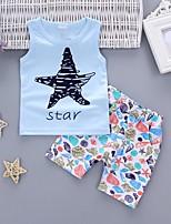preiswerte -Jungen Kleidungs Set Geometrisch Baumwolle Sommer Ärmellos Freizeit Blau Weiß