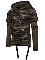 cheap -Men's Daily Leopard Hooded Hoodie Regular, Long Sleeves Winter Cotton