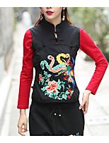preiswerte -Damen Blumen - Retro T-shirt, Rundhalsausschnitt Leinen