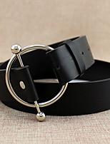 cheap -Women's Leather Waist Belt,Brown White Black Vintage Casual