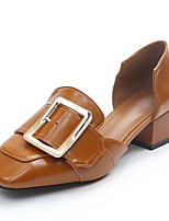 cheap -Women's Shoes PU Spring Fall Comfort Heels Chunky Heel for Casual Black Beige Yellow