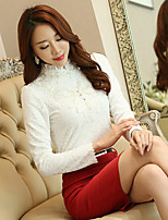 cheap -Women's Daily Vintage All Seasons Blouse,Solid Turtleneck Long Sleeve Polyester