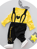 Недорогие -Девочки Набор одежды Повседневные Праздники Хлопок Слова Весна Длинные рукава Зеленый Розовый Желтый