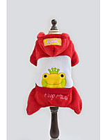 abordables -Chien Costume Manteaux Pulls à capuche Vêtements pour Chien Décontracté / Quotidien Le style mignon Animal Lettre et chiffre Jaune Rouge