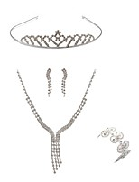 preiswerte -Damen Kopfbedeckung Braut-Schmuck-Sets Strass Europäisch Modisch Hochzeit Party Diamantimitate Aleación Geometrische Form Linienform