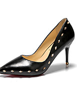 cheap -Women's Shoes PU Spring Fall Comfort Heels Stiletto Heel Rivet for Office & Career Party & Evening Almond Black