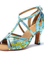 cheap -Women's Latin Leatherette Sandal Sneaker Indoor Practice Trim Stiletto Heel Green Yellow Customizable