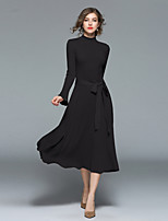 cheap -Women's Daily Going out Casual Street chic A Line Sheath Swing DressSolid Stand Midi Long Sleeve Cotton Polyester Spring Fall Mid Rise