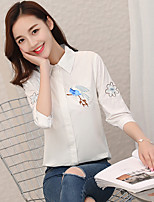 cheap -Women's Daily Wear Work Sophisticated Spring/Fall Shirt,Print Shirt Collar Half Sleeves Cotton