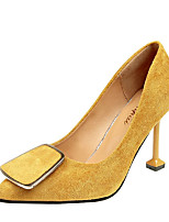cheap -Women's Shoes PU Spring Summer Comfort Heels Stiletto Heel for Casual Pink Brown Yellow Black