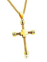 Недорогие -Муж. Крест На каждый день Мода Ожерелья с подвесками , Титан Сталь Ожерелья с подвесками , Другое Повседневные