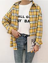 cheap -Women's Casual/Daily Vintage Shirt,Color Block Shirt Collar Long Sleeves Linen