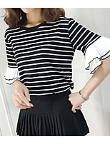 cheap -Women's Daily Casual Fall T-shirt,Striped Round Neck Short Sleeve Polyester Medium