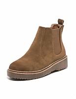 abordables -Mujer Zapatos Cuero Invierno Otoño Botas de Combate Botas Tacón Cuadrado Dedo redondo Botines/Hasta el Tobillo para Casual Negro Marrón