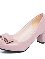 preiswerte -Damen Schuhe PU Frühling Herbst Komfort High Heels Block Ferse Spitze Zehe für Normal Schwarz Beige Rosa
