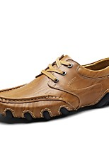 cheap -Shoes Cowhide Leather Spring Fall Driving Shoes Formal Shoes Comfort Oxfords for Casual Office & Career Black Brown Khaki