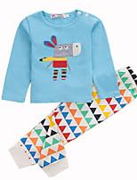 Недорогие -малыш Детские Набор одежды Повседневные Хлопок Живопись Весна Длинные рукава Обычные Светло-синий