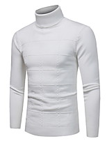 Недорогие -Для мужчин Повседневные На каждый день Обычный Пуловер Однотонный,Круглый вырез Длинный рукав Полиэстер Смесь шерсти Зима Плотная