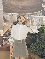 cheap -Women's Casual/Daily Sexy Spring/Fall Shirt,Solid Shirt Collar Long Sleeve Cotton Medium