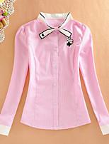cheap -Women's Daily Casual Fall Shirt,Striped Stand Long Sleeve Cotton Medium