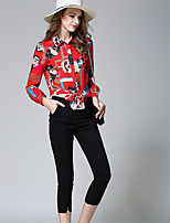 cheap -Women's Daily Casual Fall Shirt Pant Suits,Print Shirt Collar Long Sleeve Polyester