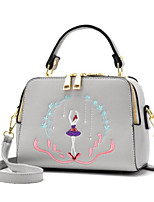 cheap -Women Bags PU Tote Embroidery Zipper for Casual All Season Khaki Purple Gray Blushing Pink Black