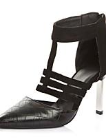 preiswerte -Damen Schuhe Beflockung Kunstleder Sommer Pumps High Heels Stöckelabsatz Spitze Zehe für Kleid Schwarz Braun