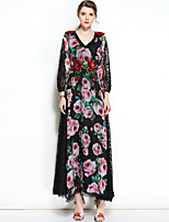 cheap -MARY YAN&YU Women's Party Cute Boho Swing Dress,Floral V Neck Maxi Long Sleeve Cotton Polyester Spring Summer Mid Rise Inelastic Opaque