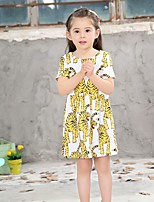 cheap -Girl's Daily Geometric Dress, Cotton Summer Half Sleeves Casual Yellow