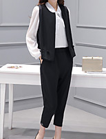 cheap -Women's Going out Simple Winter Set Pant Suits,Solid Shirt Collar Long Sleeves Polyester