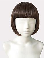 economico -Donna Parrucche sintetiche Pantaloncini Kinky liscia Cenere marrone Attaccatura dei capelli naturale Taglio medio corto Con frangia